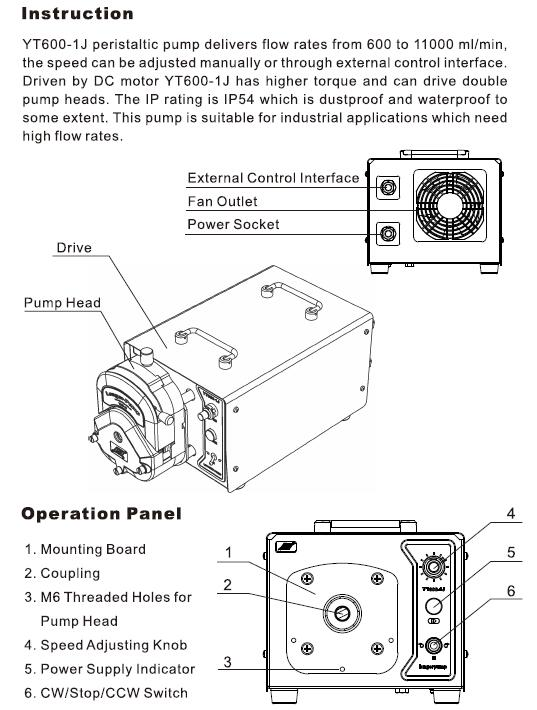 YT600-1J - Industrial Peristaltic Pump instruction and